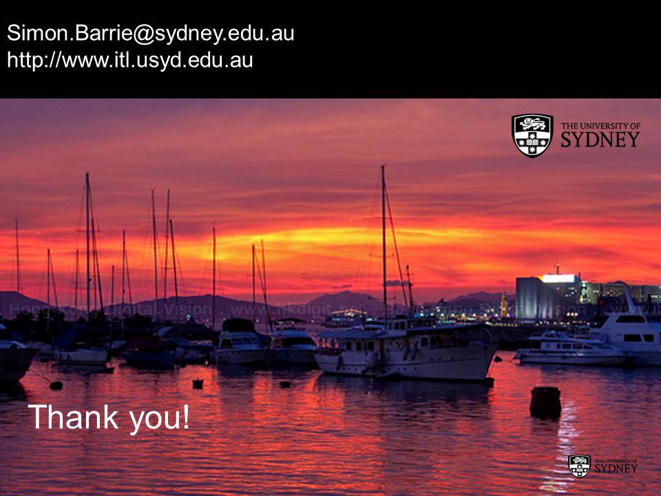 Simon.Barrie@sydney.edu.au http://www.itl.usyd.edu.au Thank you!