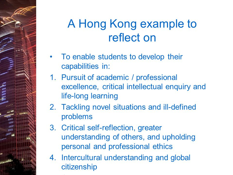 A Hong Kong example to reflect on