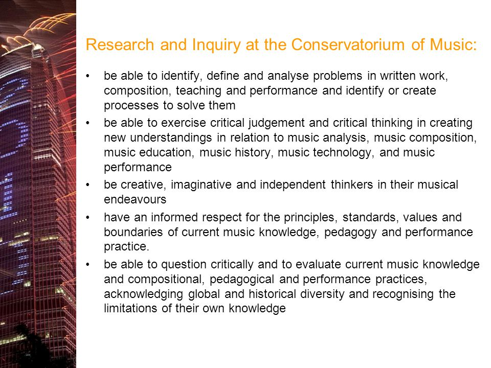 Research and Inquiry at the Conservatorium of Music: