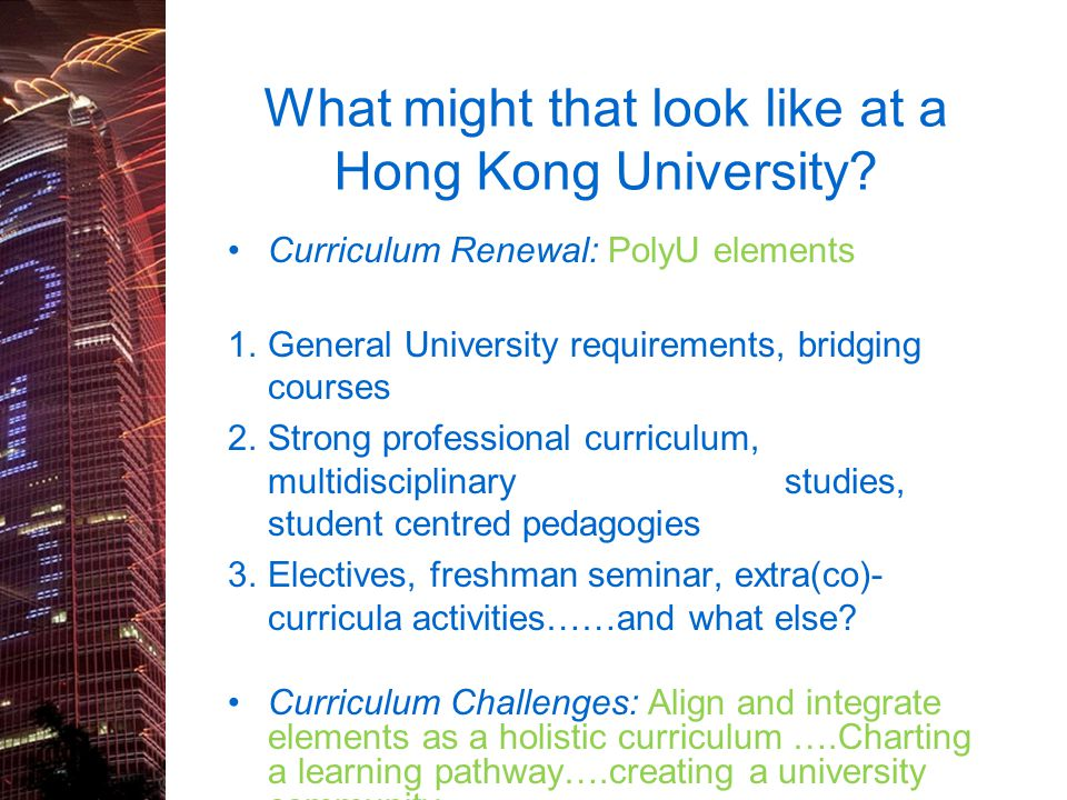 What might that look like at a Hong Kong University