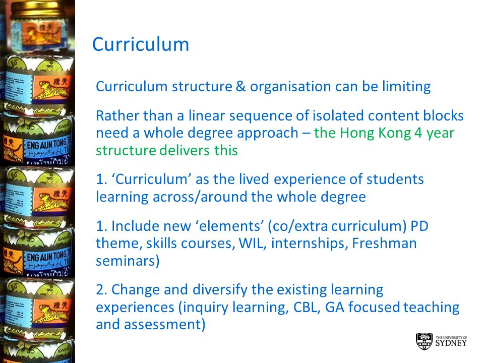 Curriculum Curriculum structure & organisation can be limiting