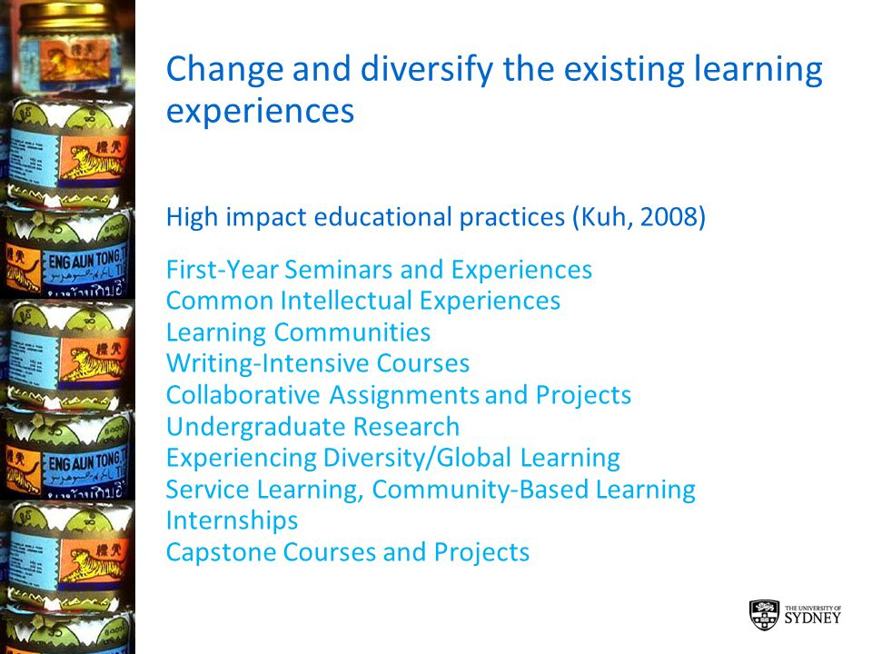 Change and diversify the existing learning experiences