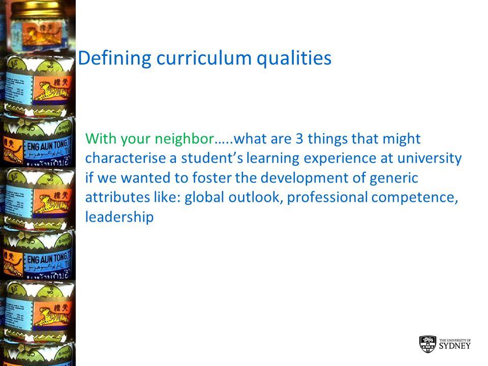 Defining curriculum qualities