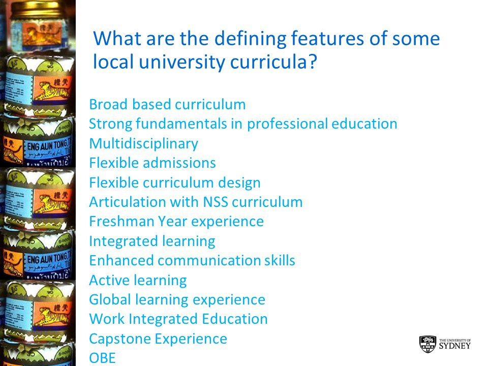 What are the defining features of some local university curricula