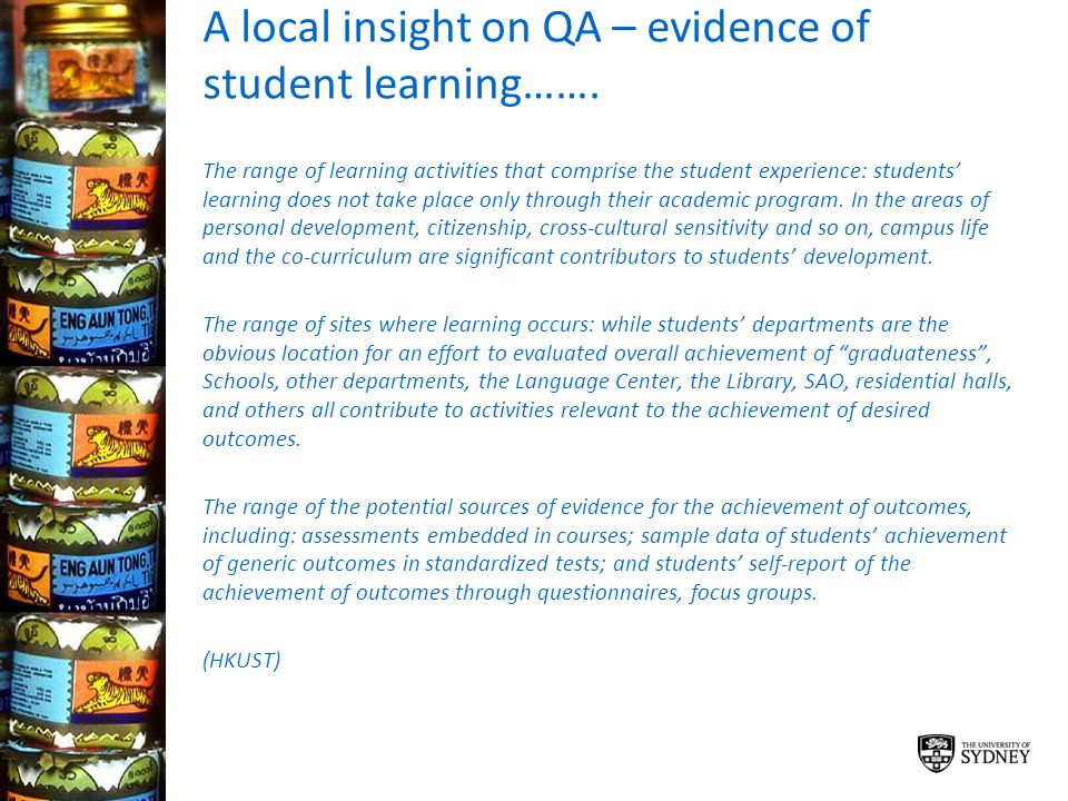 A local insight on QA – evidence of student learning…….