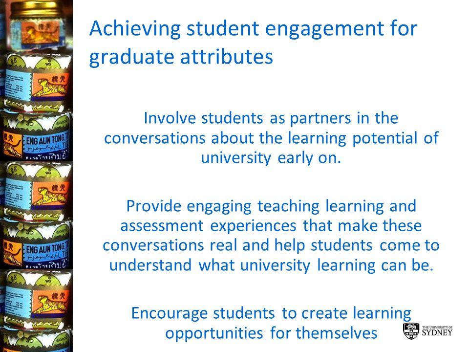 Achieving student engagement for graduate attributes