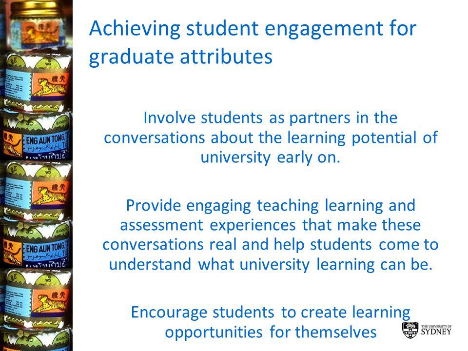 Achieving student engagement for graduate attributes