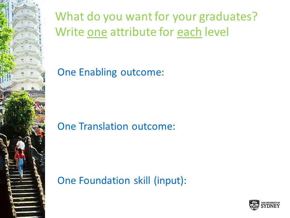 What do you want for your graduates Write one attribute for each level