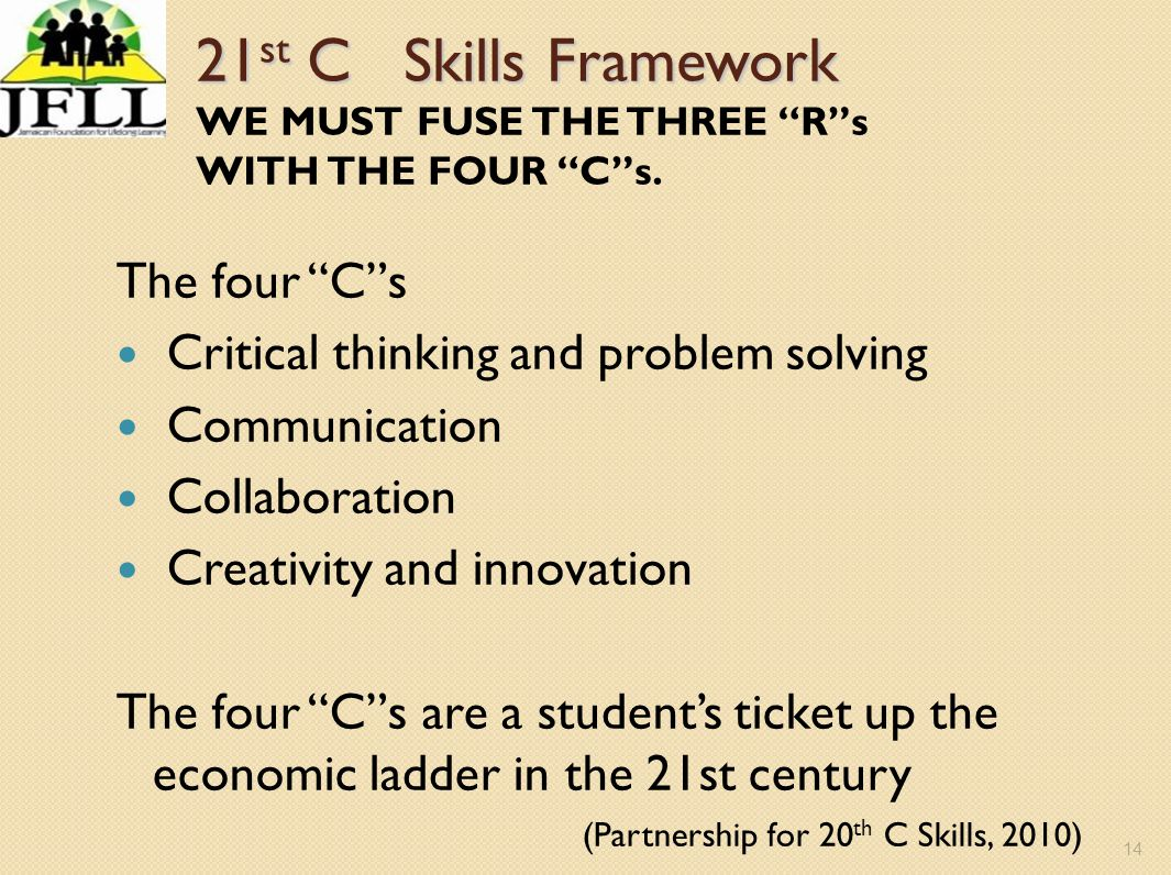 21st C Skills Framework WE MUST FUSE THE THREE R s WITH THE FOUR C s.