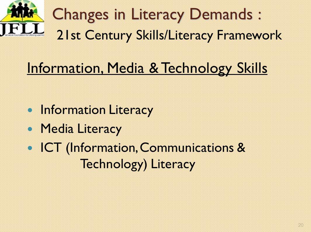 Changes in Literacy Demands : 21st Century Skills/Literacy Framework