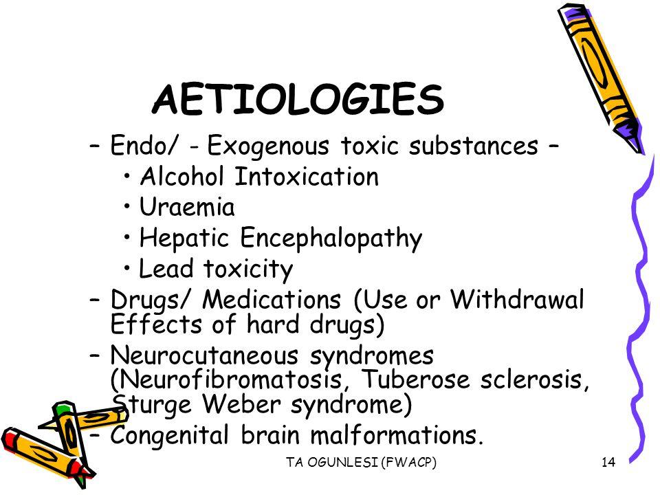 AETIOLOGIES Endo/ - Exogenous toxic substances – Alcohol Intoxication