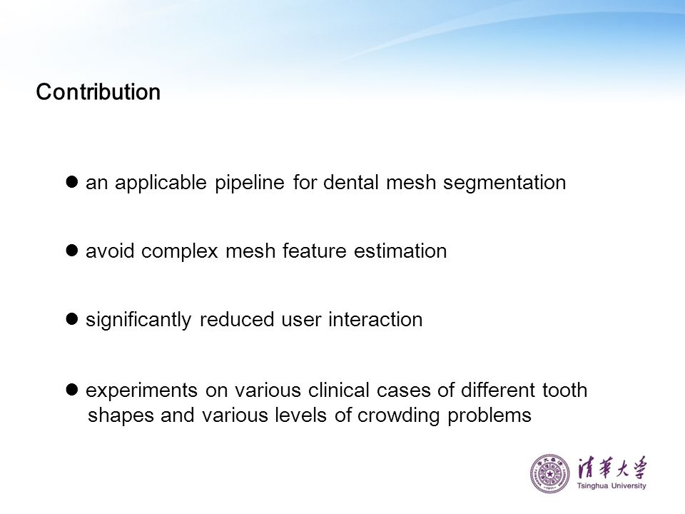 Contribution an applicable pipeline for dental mesh segmentation