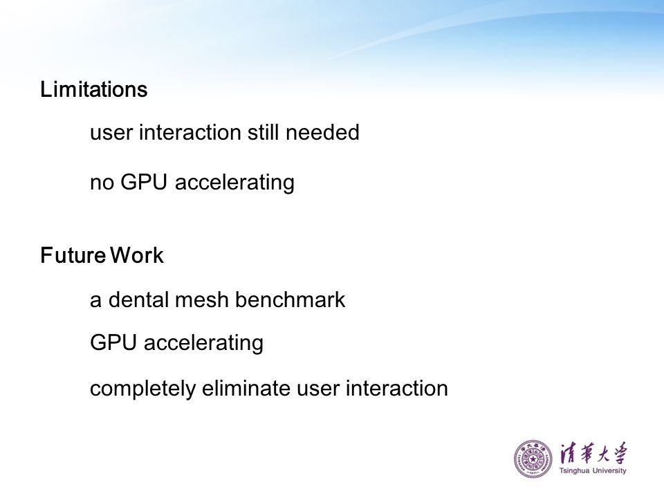 Limitations user interaction still needed. no GPU accelerating. Future Work. a dental mesh benchmark.