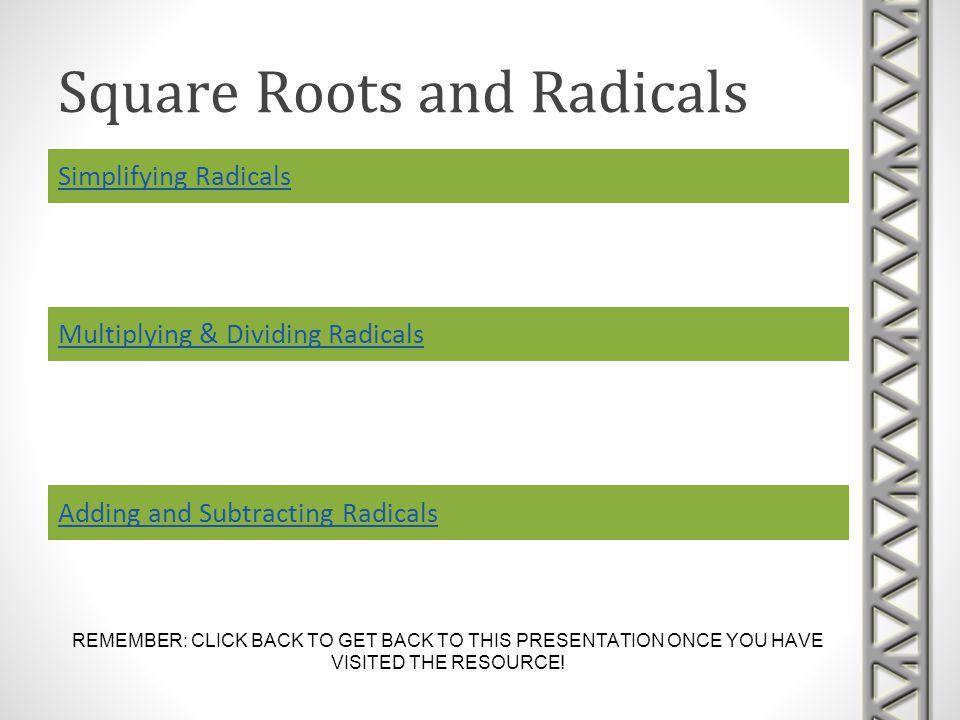 Square Roots and Radicals Simplifying Radicals