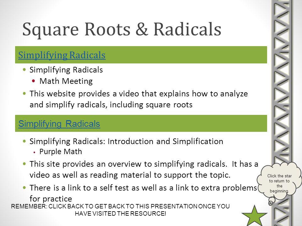 Simplifying Radicals Simplifying Radicals