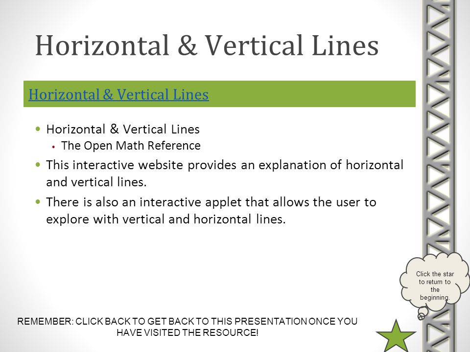 Horizontal & Vertical Lines