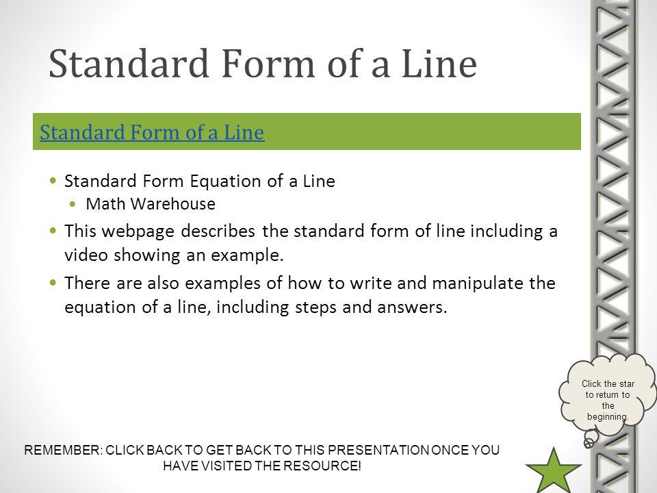 Standard Form of a Line Standard Form of a Line