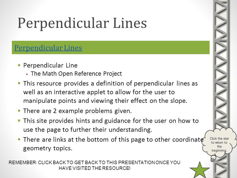 Perpendicular Lines Perpendicular Lines Perpendicular Line