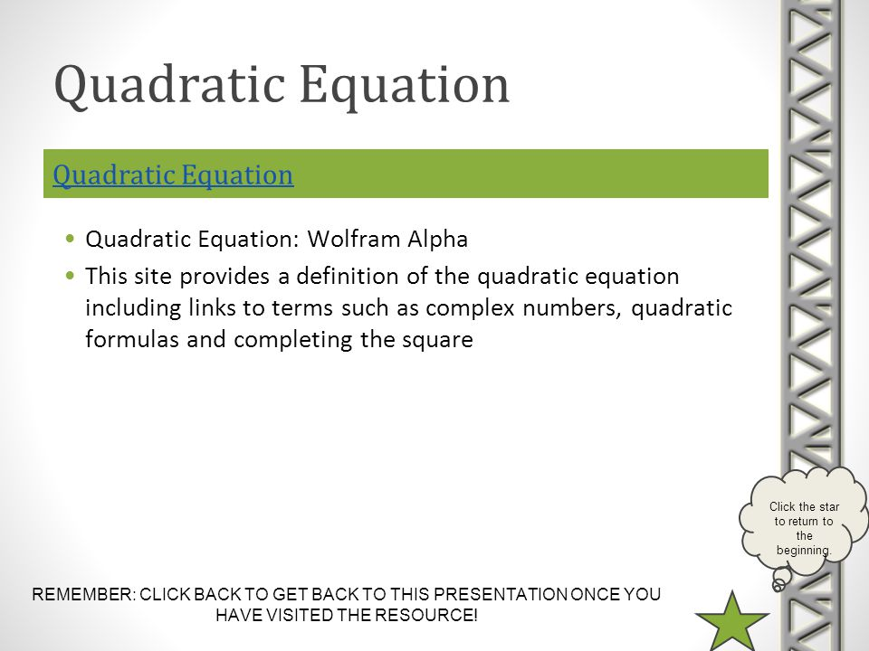 Quadratic Equation Quadratic Equation