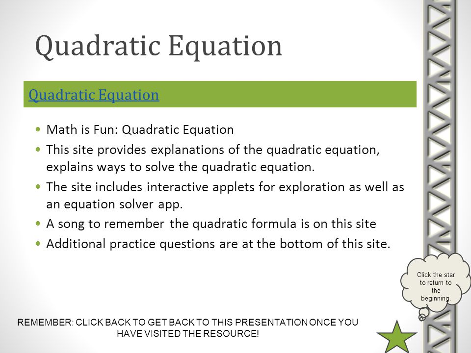 Quadratic Equation Quadratic Equation Math is Fun: Quadratic Equation