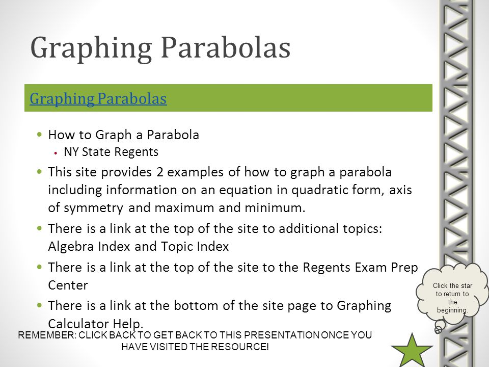 Graphing Parabolas Graphing Parabolas How to Graph a Parabola