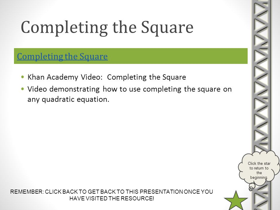 Completing the Square Completing the Square