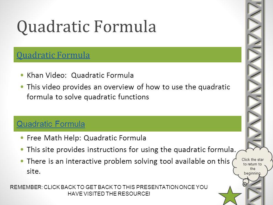 Quadratic Formula Quadratic Formula