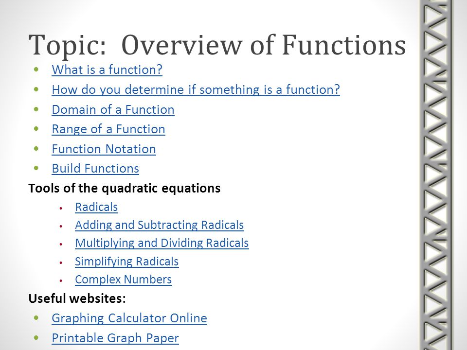 Topic: Overview of Functions