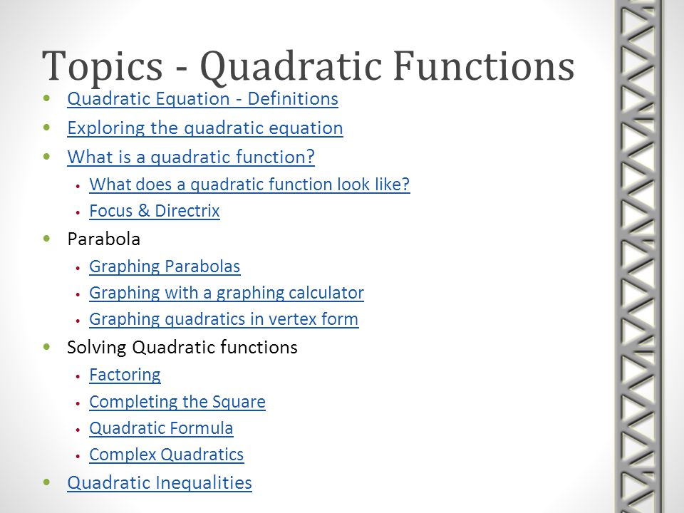 Topics - Quadratic Functions