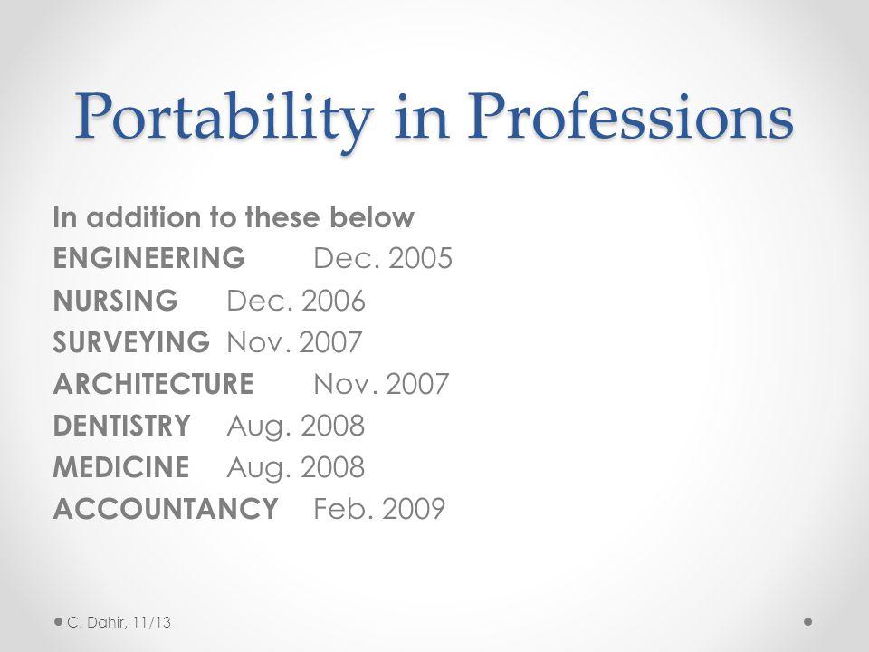 Portability in Professions