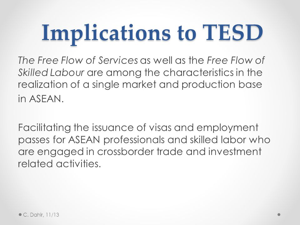 Implications to TESD