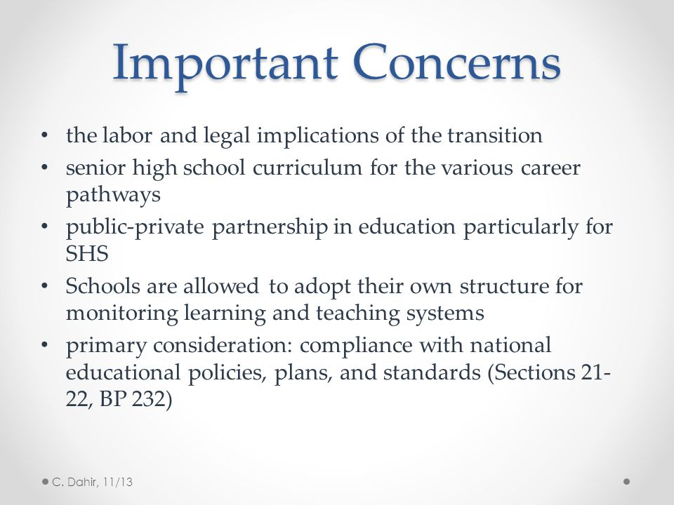 Important Concerns the labor and legal implications of the transition