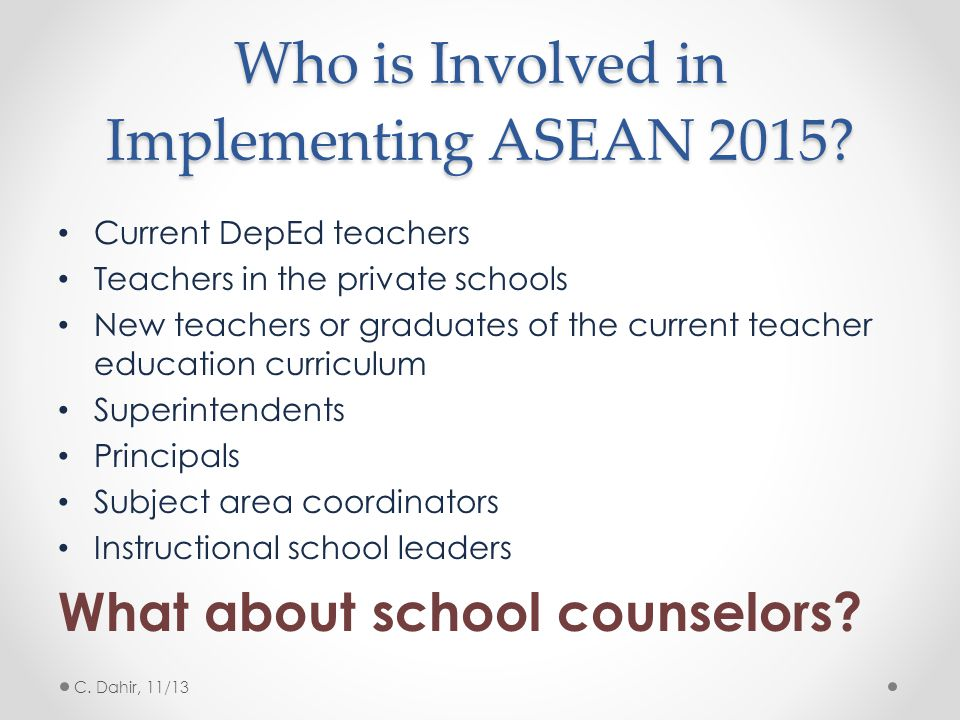 Who is Involved in Implementing ASEAN 2015