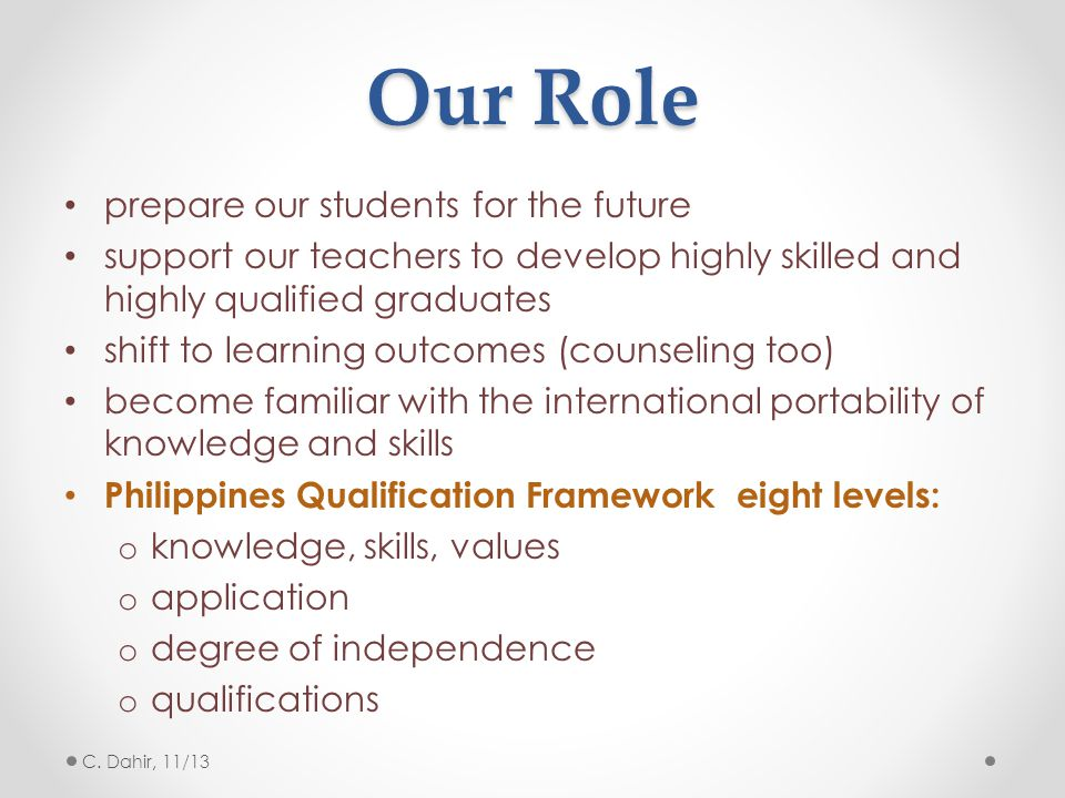 Our Role prepare our students for the future