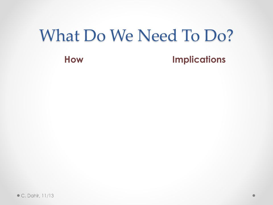 What Do We Need To Do How Implications C. Dahir, 11/13