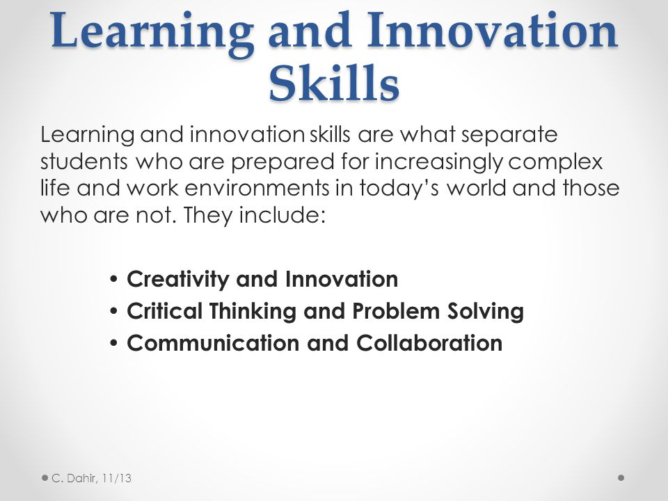 Learning and Innovation Skills
