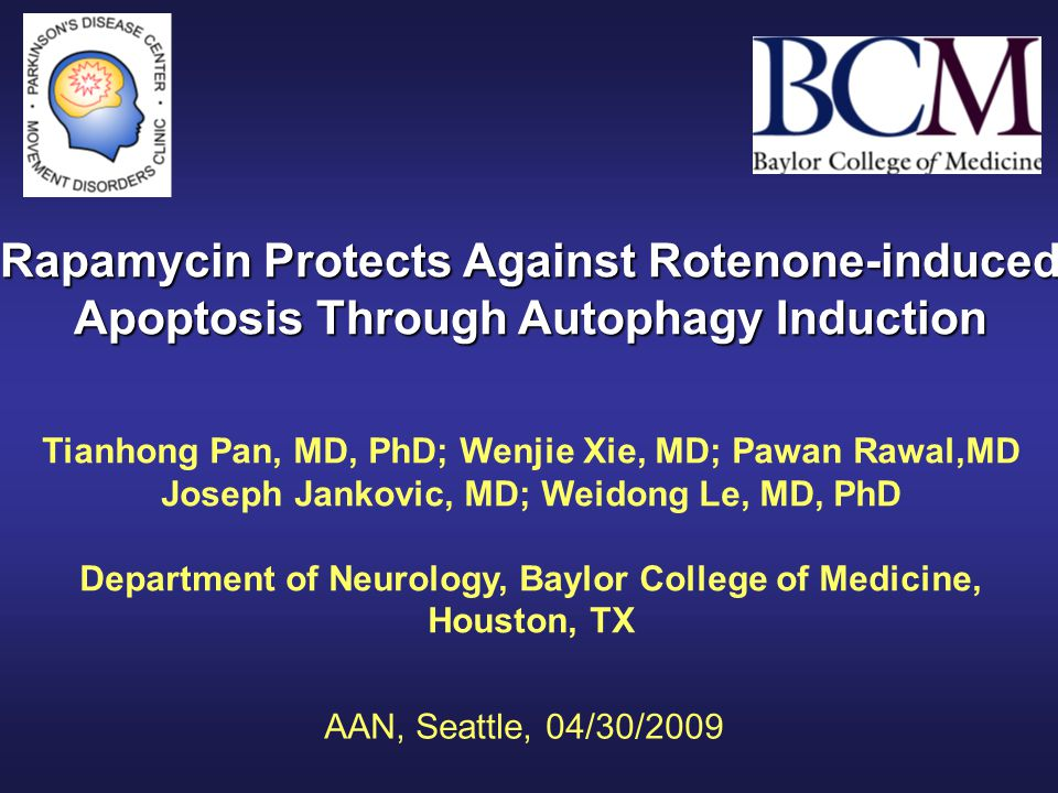 Rapamycin Protects Against Rotenone-induced Apoptosis Through Autophagy Induction