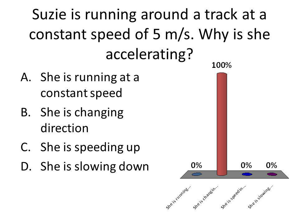 Suzie is running around a track at a constant speed of 5 m/s