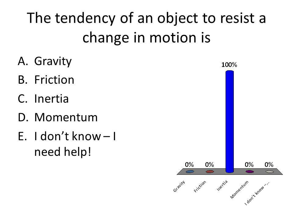 The tendency of an object to resist a change in motion is