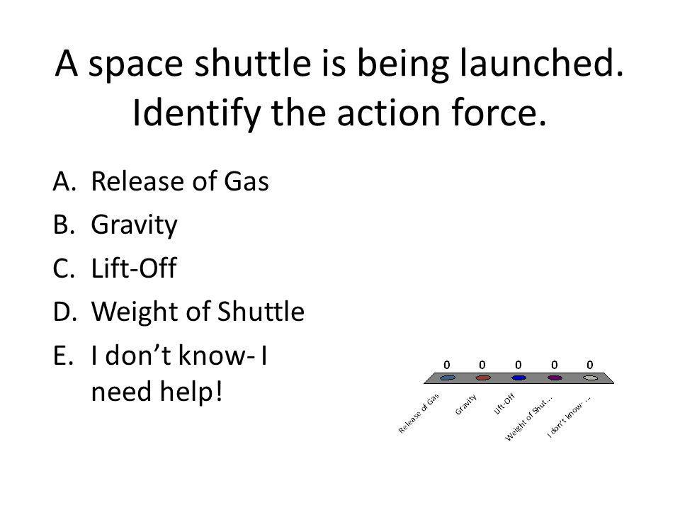 A space shuttle is being launched. Identify the action force.