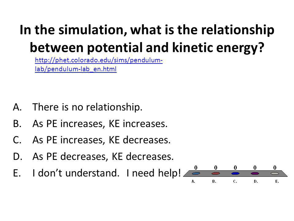 In the simulation, what is the relationship between potential and kinetic energy