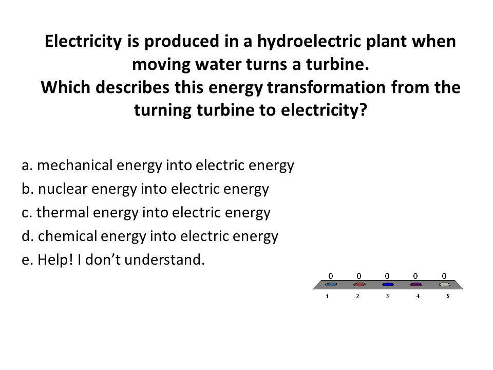Electricity is produced in a hydroelectric plant when moving water turns a turbine. Which describes this energy transformation from the turning turbine to electricity