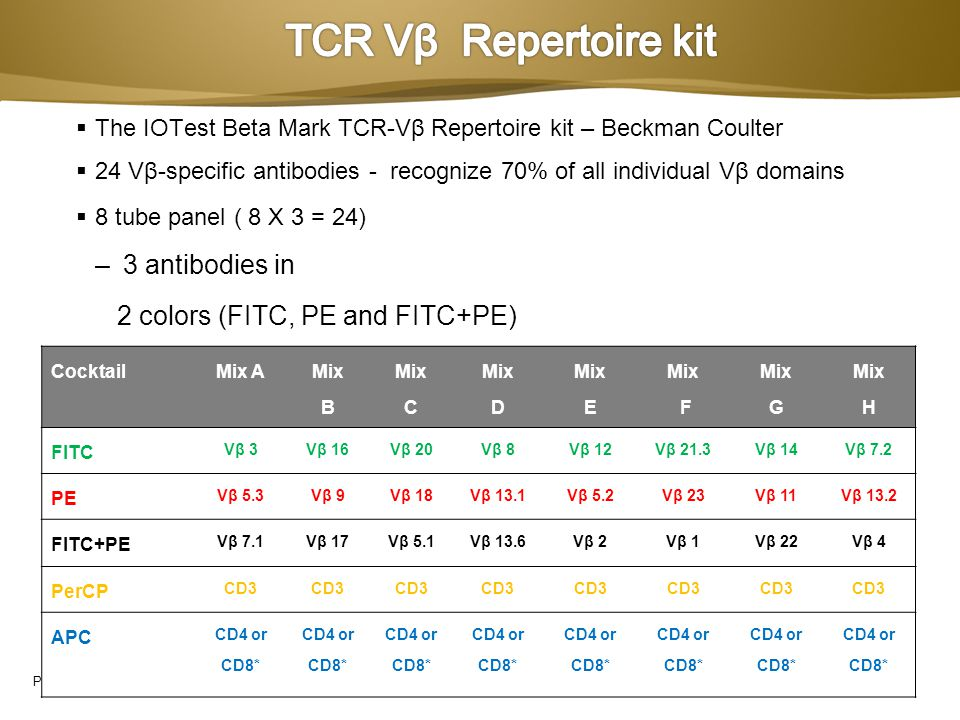 TCR Vβ Repertoire kit 3 antibodies in 2 colors (FITC, PE and FITC+PE)