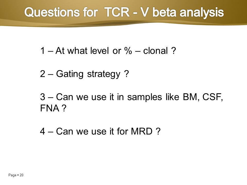 Questions for TCR - V beta analysis