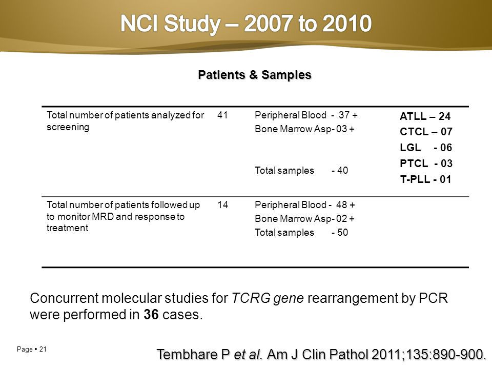 NCI Study – 2007 to 2010 Patients & Samples. Total number of patients analyzed for screening. 41.