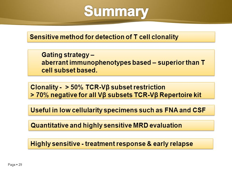 Summary Sensitive method for detection of T cell clonality