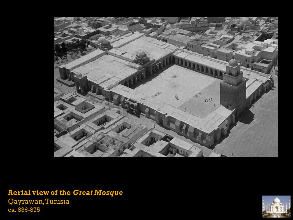 Aerial view of the Great Mosque Qayrawan, Tunisia