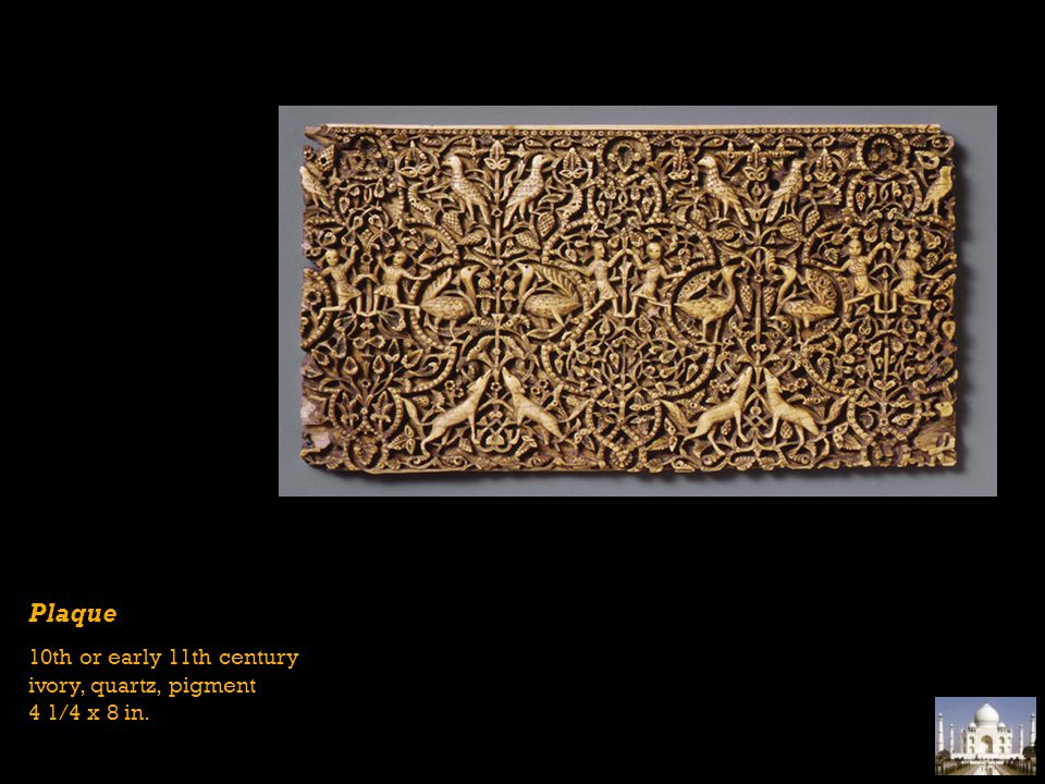 Plaque 10th or early 11th century ivory, quartz, pigment 4 1/4 x 8 in.