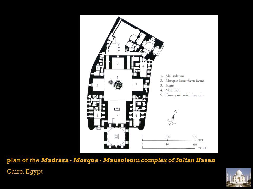plan of the Madrasa - Mosque - Mausoleum complex of Sultan Hasan