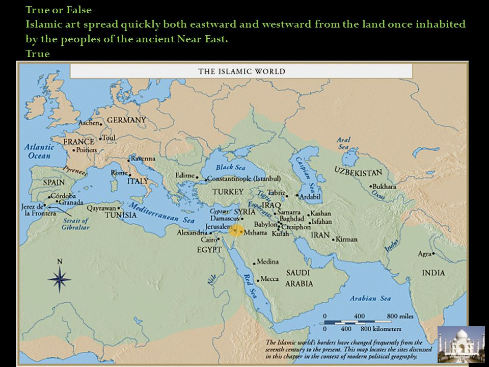 True or False Islamic art spread quickly both eastward and westward from the land once inhabited by the peoples of the ancient Near East.